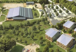 Aperçu des toitures, composées de panneaux photovoltaïques